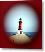 Menominee Lighthouse Through A Rivet Hole Metal Print
