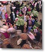 Merchants At Saqqaras Market Carry Metal Print