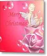 Merry Christmas Cherub And Rose Metal Print