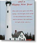 Merry Christmas Lighthouse Metal Print