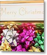 Merry Christmas Message With Colourful Bows Metal Print