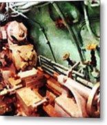 Metal Lathe In Submarine Metal Print