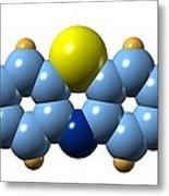 Methylene Blue, Molecular Model Metal Print by Dr Mark J. Winter