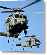 Mh-60s Sea Hawk Helicopters In Flight Metal Print