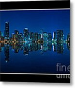 Miami Skyline Night Panorama Metal Print
