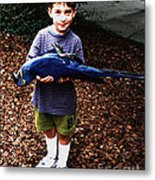 Michael And The Blue Macaw Metal Print