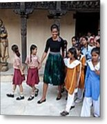 Michelle Obama Accompanied By Children Metal Print