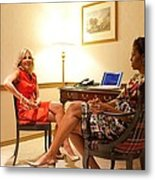 Michelle Obama And Dr. Jill Biden Wait Metal Print by Everett