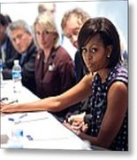 Michelle Obama Attends A Meeting Metal Print
