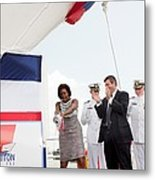 Michelle Obama Christens The Us Coast Metal Print
