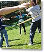 Michelle Obama Hula Hoops With Children Metal Print
