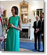 Michelle Obama Laughs With National Metal Print