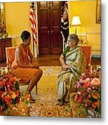 Michelle Obama Meets With Mrs Metal Print by Everett
