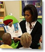 Michelle Obama Reads The Cat In The Hat Metal Print