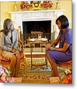 Michelle Obama Talks With Elizabeth Metal Print