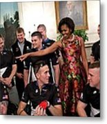 Michelle Obama Talks With Participants Metal Print by Everett
