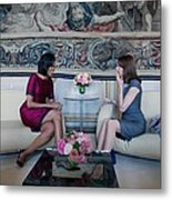 Michelle Obama With Carla Bruni-sarkozy Metal Print