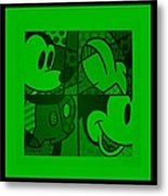 Mickey In Green Metal Print