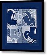 Mickey In Negative Deep  Blue Metal Print