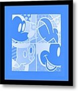 Mickey In Negative Light Blue Metal Print