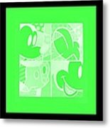 Mickey In Negative Light Green Metal Print