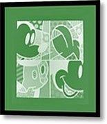 Mickey In Negative Olive Green Metal Print