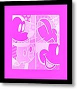 Mickey In Negative Pink Metal Print
