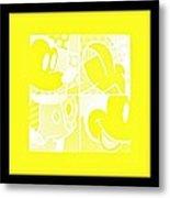 Mickey In Negative Yellow Metal Print