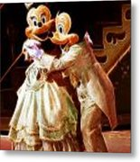 Micky And Minnie Mouse Skate Metal Print