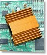 Microchip Processor Heat Sink Metal Print by Sheila Terry