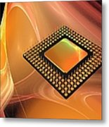 Microprocessor Chip, Artwork Metal Print