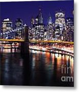 Midnight In The Shadow Of Brooklyn Bridge - Brooklyn Bridge Metal Print