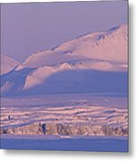 Midnight Sunlight On Polar Mountains Metal Print