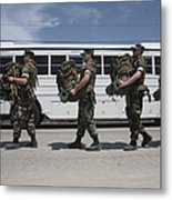 Midshipmen Carry Their Packs And Board Metal Print
