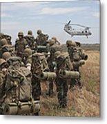 Midshipmen Watch As A U.s. Marine Corps Metal Print