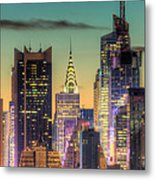 Midtown Buildings Morning Twilight Metal Print by Clarence Holmes
