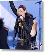 Miley Cyrus On Stage For Good Morning Metal Print