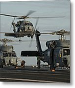 Military Helicopters Land On The Flight Metal Print