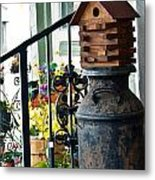 Milkcan And Birdhouse Metal Print