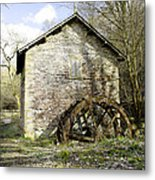 Mill And Water-wheel Near Ashford-in-the-water Metal Print