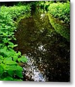 Mill Pond Stream In Green Metal Print