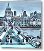 Millennium Bridge And St Paul's Cathedral Metal Print