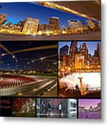 Millennium Park Photo Collage Metal Print