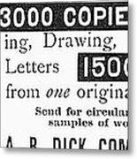 Mimeograph Ad, 1890 Metal Print