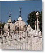 Minarets And Structure Of Pearl Mosque Inside Red Fort Metal Print