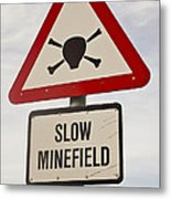 Minefield Road Sign Falkland Islands Metal Print