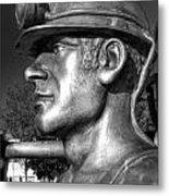 Miner Statue Monochrome Metal Print