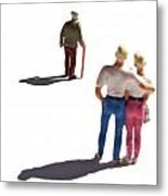 Miniature Figurines Couple Watching Elderly Man Metal Print by Bernard Jaubert
