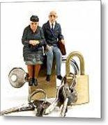 Miniature Figurines Of Elderly Couple Sitting On Padlocks Metal Print