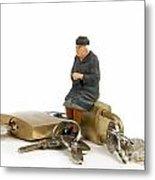 Miniature Figurines Of Elderly Sitting On Padlocks Metal Print